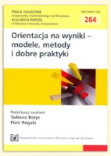 Modele pomiaru wyników w organizacjach. Prace Naukowe Uniwersytetu Ekonomicznego we Wrocławiu = Research Papers of Wrocław University of Economics, 2012, Nr 264, s. 252-270