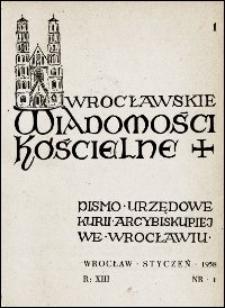 Wrocławskie Wiadomości Kościelne. R. 13, 1958, nr 1