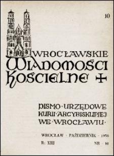 Wrocławskie Wiadomości Kościelne. R. 13, 1958, nr 10