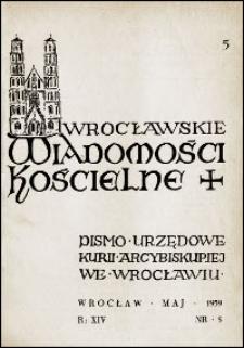 Wrocławskie Wiadomości Kościelne. R. 14, 1959, nr 5