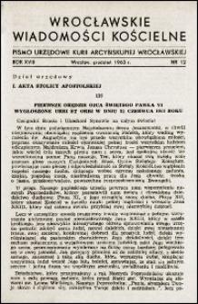 Wrocławskie Wiadomości Kościelne. R. 18, 1963, nr 12