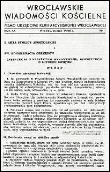 Wrocławskie Wiadomości Kościelne. R. 20, 1965, nr 1