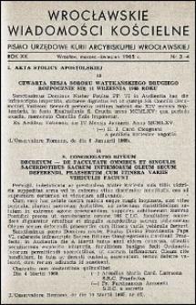 Wrocławskie Wiadomości Kościelne. R. 20, 1965, nr 3-4
