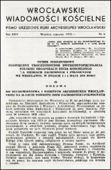 Wrocławskie Wiadomości Kościelne. R. 25, 1970, nr 6