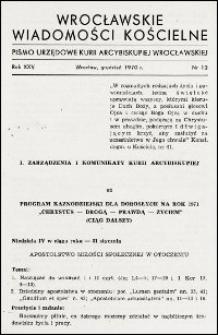 Wrocławskie Wiadomości Kościelne. R. 25, 1970, nr 12