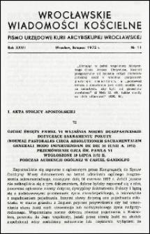 Wrocławskie Wiadomości Kościelne. R. 27, 1972, nr 11
