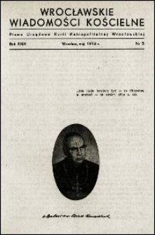 Wrocławskie Wiadomości Kościelne. R. 29, 1974, nr 5