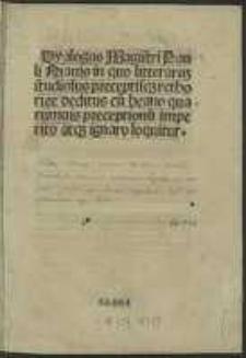 Dyalogus Magistri Pauli Niauis, in quo litteraru[m] studiosus preceptisq[ue] rethorice deditus cu[m] beano quarumuis preceptionu[m] imperito atq[ue] ignaro loquitur