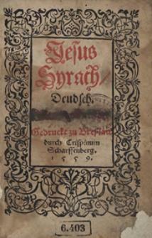 Biblia. Apokrypha. Jesus Syrach