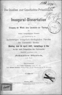 Die Quellen zur Geschichte Priscillians