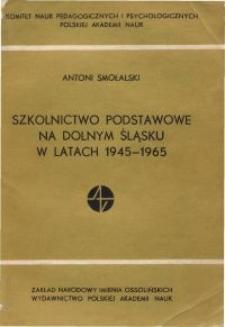 Szkolnictwo podstawowe na Dolnym Śląsku w latach 1945-1965