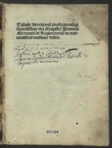 Tabulae directionum et profectionum; Tabella sinus recti