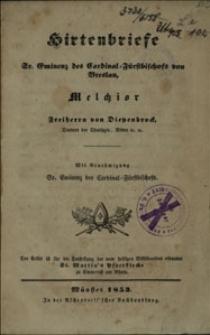 Hirtenbriefe Sr. Eminenz des Cardinal-Fürstbischofs von Breslau, Melchior Freiherrn von Diepenbrock