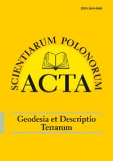 Acta Scientiarum Polonorum. Geodesia et Descriptio Terrarum 1, 2012