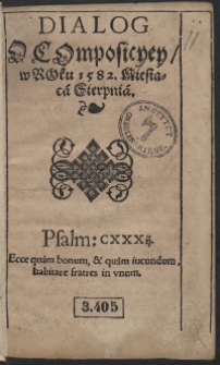 Dialog O Komposicyey w Roku 1582 Miesiąca Sierpnia