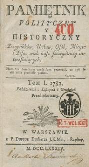 Pamiętnik Polityczny i Historyczny Przypadków, Ustaw, Osób, Miejsc i Pism wiek nasz szczególniej interesujących. R.1782 T.1 (Listopad)