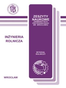Zeszyty Naukowe Uniwersytetu Przyrodniczego we Wrocławiu. Inżynieria Rolnicza 6, 2007