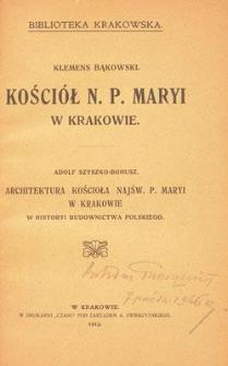 Architektura kościoła Najśw. P. Maryi w Krakowie w historii budownictwa polskiego