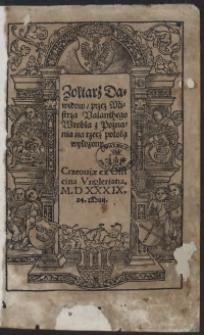 Żołtarz Dawidow przez Mistrza Valenthego Wrobla z Poznania na rzecz polską wyłożony