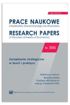 Strategie innowacyjne organizacji. Prace Naukowe Uniwersytetu Ekonomicznego we Wrocławiu = Research Papers of Wrocław University of Economics, 2014, Nr 366, s. 184-193
