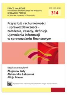 Wybrane aspekty porównywalności sprawozdań finansowych. Prace Naukowe Uniwersytetu Ekonomicznego we Wrocławiu = Research Papers of Wrocław University of Economics, 2013, Nr 314, s. 11-20