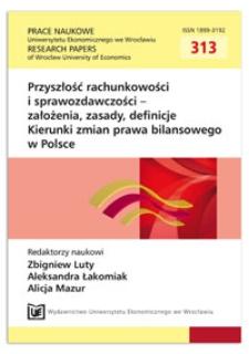 Założenia koncepcyjne sprawozdań budżetowych. Prace Naukowe Uniwersytetu Ekonomicznego we Wrocławiu = Research Papers of Wrocław University of Economics, 2013, Nr 313, s. 9-24