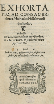 Exhortatio Ad Consacerdotes Michaelis Hillebrandi doctoris