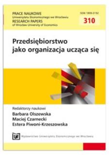 Ku organizacji uczącej się (na przykładzie przedsiębiorstwa Tomadex s.c. Tomasz Szulc, Adam Czajka). Prace Naukowe Uniwersytetu Ekonomicznego we Wrocławiu = Research Papers of Wrocław University of Economics, 2013, Nr 310, s. 450-459
