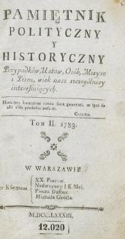 Pamiętnik Polityczny i Historyczny Przypadków, Ustaw, Osób, Miejsc i Pism wiek nasz szczególniej interesujących. R.1783 T.2 (Wrzesień)