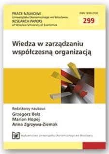 Znaczenie wiedzy i innowacji w procesie zarządzania przedsiębiorstwem. Prace Naukowe Uniwersytetu Ekonomicznego we Wrocławiu = Research Papers of Wrocław University of Economics, 2013, Nr 299, s. 24-32