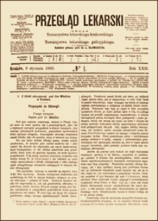 Przyczynki do chirurgii. Uwagi wstępne. Przegląd Lekarski, 1883, R. 22, nr 1, s. 1-3