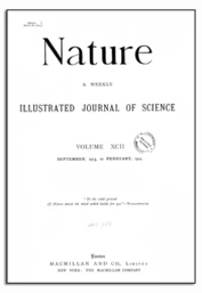 Nature : a Weekly Illustrated Journal of Science. Volume 92, 1914 January 29, [No. 2309]