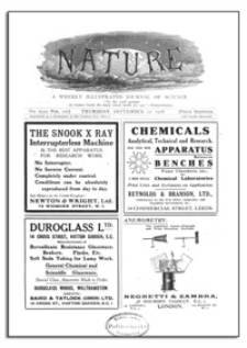 Nature : a Weekly Illustrated Journal of Science. Volume 102, 1918 September 12, [No. 2550]