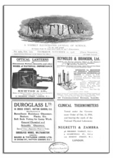 Nature : a Weekly Illustrated Journal of Science. Volume 102, 1918 November 21, [No. 2560]