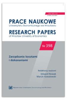 Determinanty kosztów kształcenia w szkołach wyższych. Prace Naukowe Uniwersytetu Ekonomicznego we Wrocławiu = Research Papers of Wrocław University of Economics, 2015, Nr 398, s. 62-72