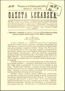 Wgłobienie i wypadnięcie (invaginatio et prolapsus) jelita grubego przez kiszkę stolcową; wycięcie kawałka jelita 76 ctm. długiego; wyleczenie, Gazeta Lekarska, 1883, R. 18, nr 47, s. 901-903