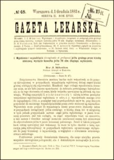 Wgłobienie i wypadnięcie (invaginatio et prolapsus) jelita grubego przez kiszkę stolcową; wycięcie kawałka jelita 76 ctm. długiego; wyleczenie, Gazeta Lekarska, 1883, R. 18, nr 48, s. 921-925