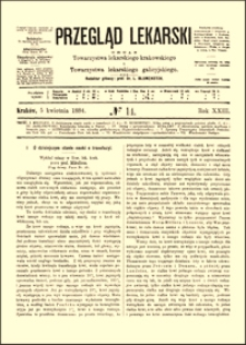 O dzisiejszym stanie nauki o transfuzyi : wykład miany w Tow. lek. krak. przez prof. Mikulicza, Przegląd Lekarski, R. 23, nr 14, s. 189-191