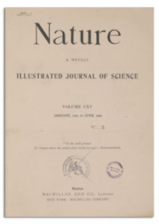 Nature : a Weekly Illustrated Journal of Science. Volume 115, 1925 January 10, [No. 2880]