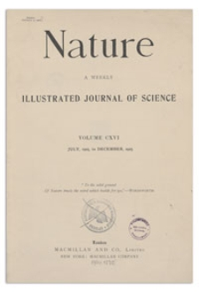 Nature : a Weekly Illustrated Journal of Science. Volume 116, 1925 August 15, [No. 2911]