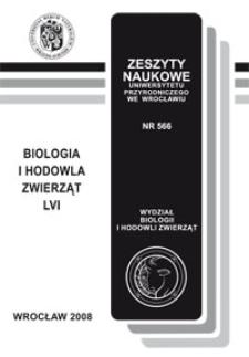 Zeszyty Naukowe Uniwersytetu Przyrodniczego we Wrocławiu. Biologia i Hodowla Zwierząt 56, 2008