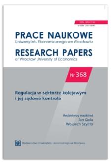 Konstrukcja prawna licencji w transporcie kolejowym. Prace Naukowe Uniwersytetu Ekonomicznego we Wrocławiu = Research Papers of Wrocław University of Economics, 2014, Nr 368, s. 19-34
