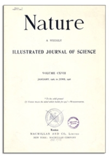 Nature : a Weekly Illustrated Journal of Science. Volume 117, 1926 May 15, [No. 2950]