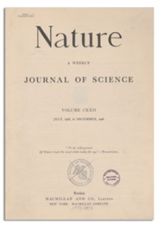 Nature : a Weekly Illustrated Journal of Science. Volume 122, 1928 October 27, [No. 3078]