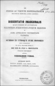 De indole ac virtute dispensationum secundum principia juris canonici