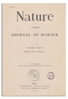 Nature : a Weekly Illustrated Journal of Science. Volume 127, 1931 January 17, [No. 3194]