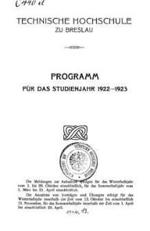 Programm für das studienjahr 1922-1923