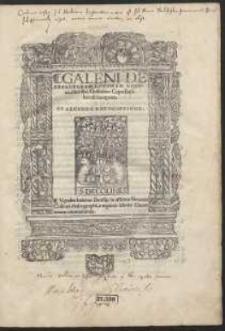 Galeni De Affectorvm Locorvm Notitia, libri sex / Guilielmo Copo Basileiensi interprete [...]