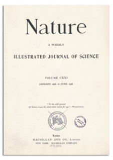 Nature : a Weekly Illustrated Journal of Science. Volume 121, 1928 January 14, [No. 3037]