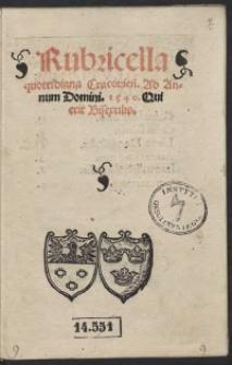 Rubricella quottidiana Cracovien[sis] ad Annum Domini 1540, Qui erit Bisextilis